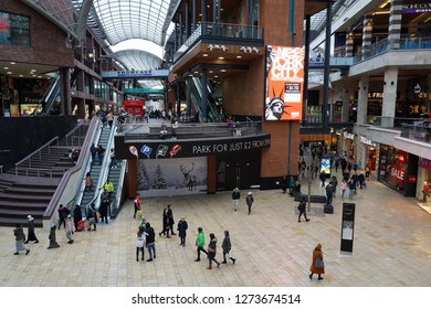Bristol, UK - January 3, 2019: Shoppers walk through the newly opened Cabot Circus shopping centre. The popular city centre mall boasts 1,000,000 square feet of retail outlets and leisure facilities.