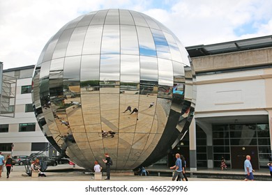 BRISTOL, UK - JULY 27, 2016: Millennium Square. Millennium Square is in the centre of Bristol, built as part of the At Bristol development, and is a popular public area.
