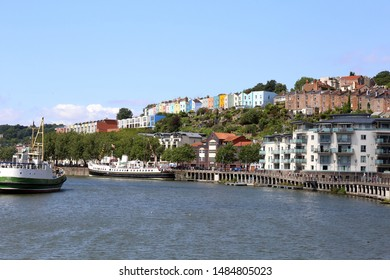 Bristol, UK - July 28, 2019: The River Avon in Bristol with shipping, modern apartments and colourful older homes make the area popular for visitors on July 28, 2019.