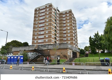 Bristol, UK - July 30, 2017: View of a social housing tower block in the city centre.