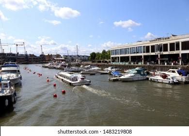 Bristol, UK - July28, 2019: Tourist boat and pleasure craft on the river Avon in Bristol City centre on July 28, 2019.