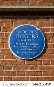 Bristol, UK - June 29th 2019: Blue plaque on Queen Square in Bristol, marking the location where  English sea captain and privateer and the 1st Royal Governor of the Bahamas Woodes Rogers once lived.