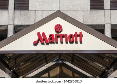 Bristol, UK - June 30th 2019: The Marriott company logo above the entrance to one of their hotels in the city of Bristol, UK.