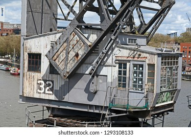 BRISTOL, UK - MAY 11, 2012: The cab of a preserved Stothert and Pitt ten-ton dockside crane outside the M Shed Museum.