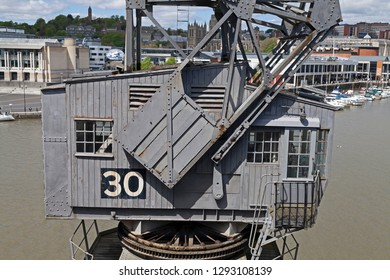 BRISTOL, UK - MAY 11, 2012: The cab of a preserved Stothert and Pitt three-ton dockside crane outside the M Shed Museum.