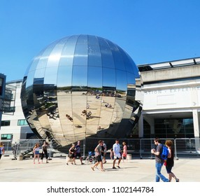Bristol, UK, May 6, 2018: Outside of the planetarium at We The Curious science museum, Millennium Square, Bristol