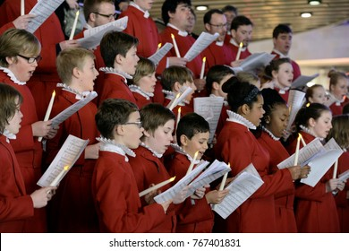 Bristol, UK - November 7, 2014: Bristol Cathedral Choir perform in Cabot Circus shopping mall. The choir performed traditional Christmas carols for visitors to the mall.