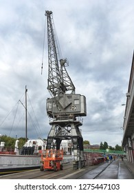 BRISTOL, UK - OCTOBER 19, 2016: A preserved Stothert and Pitt three-ton dockside crane outside the M Shed Museum.