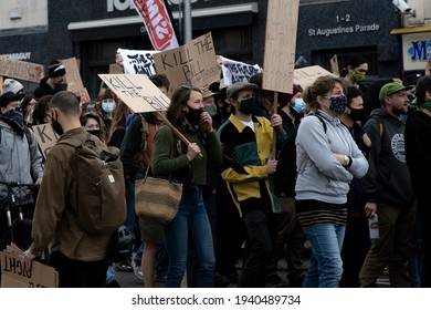 Bristol, UK - Sunday 21st 2021 Kill The Bill Crowd of protestors marching through Bristol holding placards in opposition to The Police, crime and sentencing bill