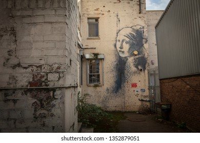 Bristol, United Kingdom, 21st February 2019, Girl with a Pierced Eardrum by Banksy