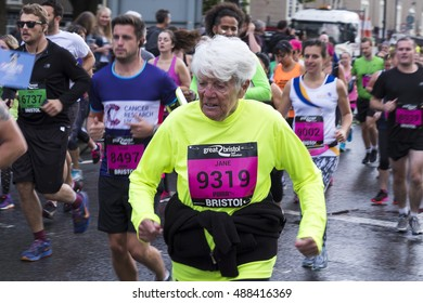 Bristol, United Kingdom - 25 September 2016:  Spectators view of runners of all ages competing in the Great Bristol Half Marathon, held in Bristol City Centre, UK.