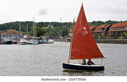 Bristol, United Kingdom - Aug 06 2017: Sailboat on the River Avon in the harbour of Bristol
