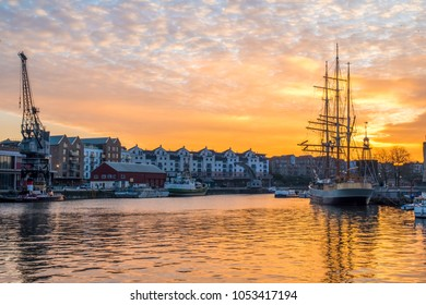 Bristol waterfront at sunset with striking colours