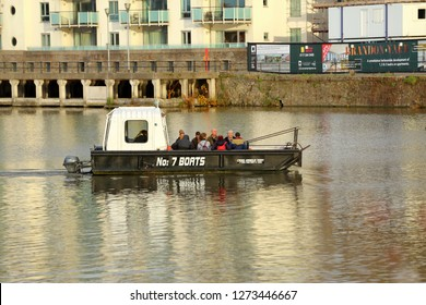 Bristol,England,UK.11.14.2018. Number 7 Boat Trip on River Avon, by Cross Harbour Ferry. The service operates all year round,passengers can use it as the preferred mode of transport.
