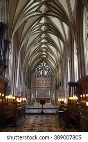 Bristol,UK-February 26,2016: the Choir and the High Altar in the Bristol Cathedral on February 26,2016