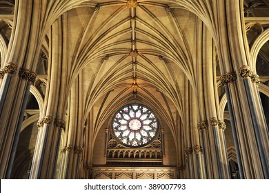 Bristol,UK-February 26,2016: the Gothic Nave in the Bristol Cathedral on February 26,2016