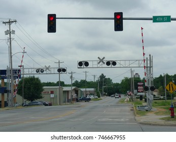 BRISTOW, OKLAHOMA—JUNE 2016: Railroad track crossing along Route 66 in Bristow, Oklahoma.