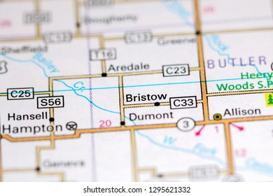 Bristow. Iowa. USA on a map