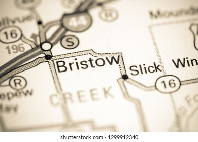 Bristow. Oklahoma. USA on a map