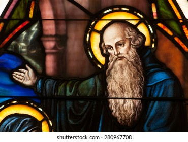 BRISTOW, VIRGINIA - APRIL 26, 2015: Detail of stained glass window depicting face of St. Benedict of Nursia, founder of Benedictine Order, located in chapel of St. Benedict Monastery