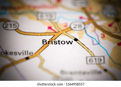 Bristow. Virginia. USA on a map