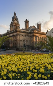 Britain in bloom and the Leeds Town hall, West Yorkshire, England.