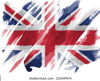 Britain. British flag painted with watercolor on paper
