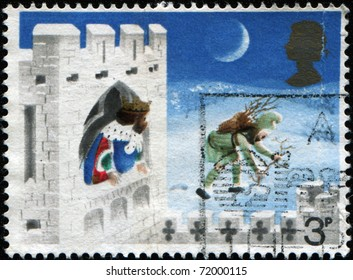 BRITAIN - CIRCA 1973: A stamp printed in United Kingdoml shows illustration for fairy tale Good King Wenceslas, the Page and Peasant, circa 1973