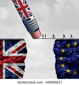 Britain European Union change and independence decision as a brexit leave concept and UK leaving vote as a pencil with the british flag erasing a link blocking entry with 3D illustration elements.3D
