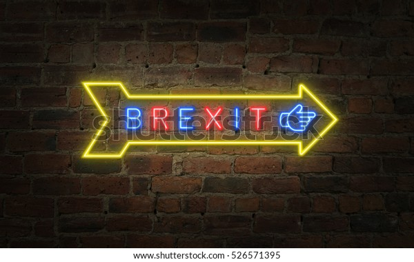 Britain exit from European Union, Brexit neon exit sign on brick wall.