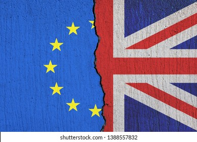 Britain flag breaking apart from European Union flag - Brexit concept