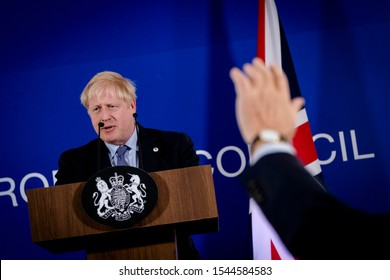 Britain's Prime Minister Boris Johnson addresses a press conference during an European Union Summit at European Union Headquarters in Brussels, Belgium on Oct. 17, 2019.