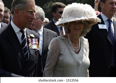 Britain's Prince Charles and his wife Camilla, the Duchess of Cornwall, arriving at WWI commemorations in the Somme, northern France, July 1, 2006