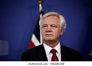 Britain's Secretary of State for Exiting the EU David Davis welcomed by EU Commission member in charge of Brexit negotiations with Britain, Michel Barnier in Brussels on Jun. 19, 2017