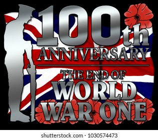 Britian, United Kingdom  - The end of World War One. 100th anniversay banner. 1918 - 2018. Original design. With poppy flowers.