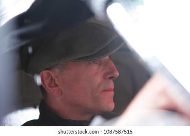 The British actor and three-time Oscar winner Daniel Day Lewis, in Victory square, during the punching of his Jaguar XK 120 of 1953 to participate in the Mille Miglia race.
