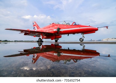 British Aerospace Hawk T Mark I of the Royal Air Force Red Arrows aerobatic team at Donmeuang International Airport (DMK/VTBD), right after a rain storm on 9 November 2016.