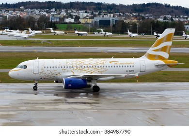 """British Airways A319-131-G-EUOH """"Golden Dove"""" or """"The Dove From Above"""" arriving at Zurich International Airport (ZHR) on the 21st of February 2016. The painting was done for the London Olympics 2012."""
