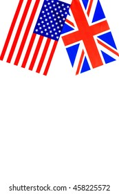 British and American flag on white background