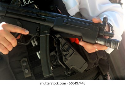 British armed police officer London England
