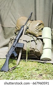 British army, circa 1980's soldier kit. 7.62 SLR, bergan, and sleeping mat. Also this would be the same for the Royal Marines and Parachute Regiment as used in the Falkland Island's conflict.