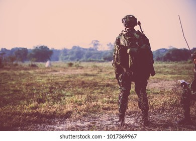 British Army soldier during the military operation in the city. war, army, technology and people concept