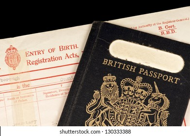 British birth certificate and old style (pre EU) type passport.   Concept of Britishness.