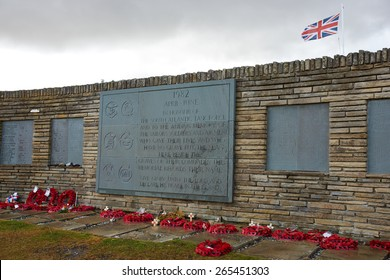 British cemetery at San Carlos in the Falkland Islands dedicated to British soldiers, sailors and airmen who lost their lives in the 1982 Falklands War.