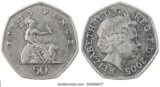 The British coin fifty pence isolated on white background