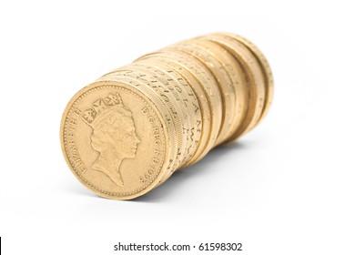 British coins arranged in stack