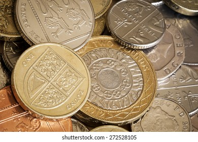 British coins in full frame background.  Overhead view.