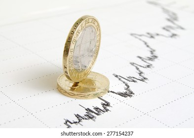 British coins on the exchange chart.