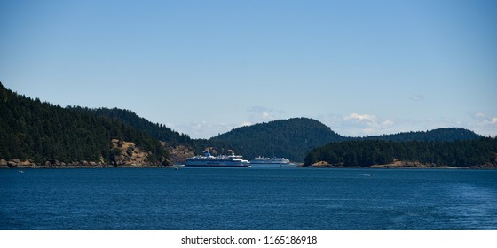 BRITISH COLUMBIA, CANADA - 16 APRIL : Ferry ship transport to Salt Sring Island on 16 April 2018 in British Columbia, Canada