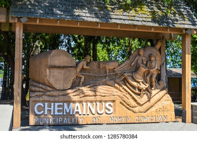 BRITISH COLUMBIA, CANADA - 17 JUNE : Sign in the town of Chemainus on 17 June 2018 in Victoria island, British columbia, Canada